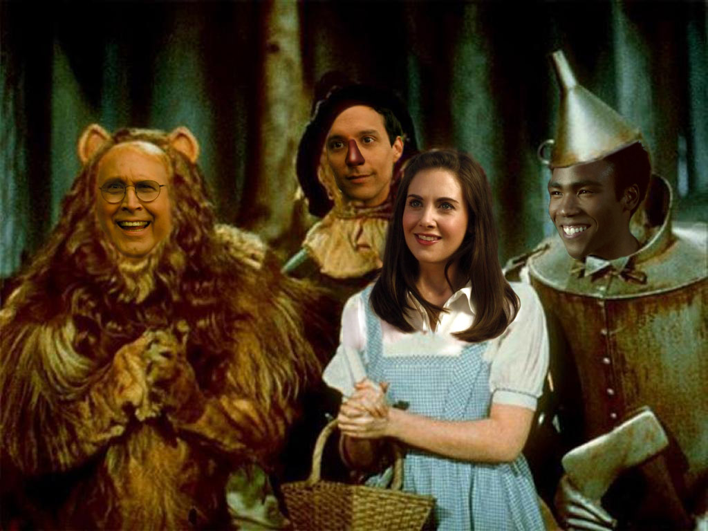 Annie as Dorothy, with Pierce as the Cowardly Lion, Abed as the Scarecrow, and Troy as the Tin Man